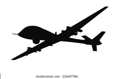 Drone flying vector silhouette. EPS 8