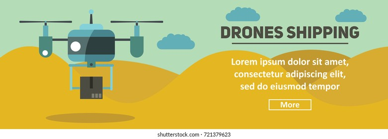 Drone horizontal banner. Drone shipping and delivery vector illustration in flat style for web