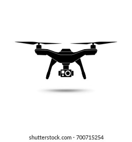 Drone icon. Copter or quadcopter with camera isolated on white background. Vector illustration.