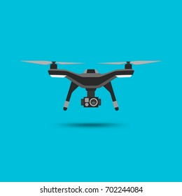 Drone icon. Copter or quadcopter with camera modern design. Vector illustration.