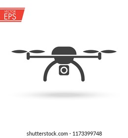 Drone icon. Copter sign. Aircraft video and photo camera symbol. Wireless helicopter illustration.