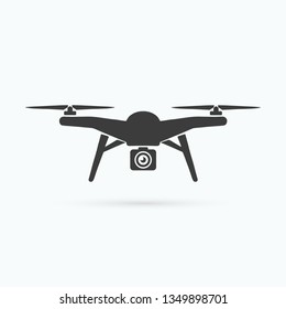 Drone icon. Quadcopter black icon. Unmanned aircraft. Vector illustration. EPS 10.