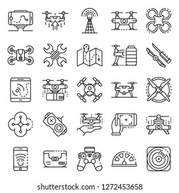 Drone icon set. Outline set of drone vector icons for web design isolated on white background