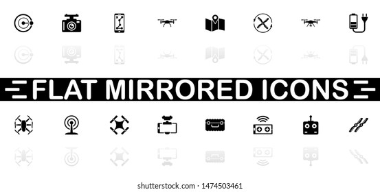 Drone icons - Black symbol on white background. Simple illustration. Flat Vector Icon. Mirror Reflection Shadow. Can be used in logo, web, mobile and UI UX project.