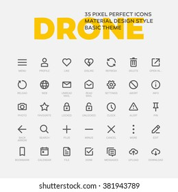 DRONE ICONS. Set of 35 flat line art vector icons made in material design style. Easy to use in web, mobile and desktop applications.