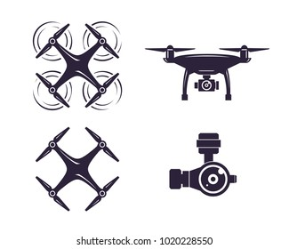 Drone icons set. Logos templates of flying drones