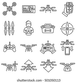 Drone, icons set. quadrocopter,multicopter, line design. drone control, symbols collection. repair and service , isolated linear illustration
