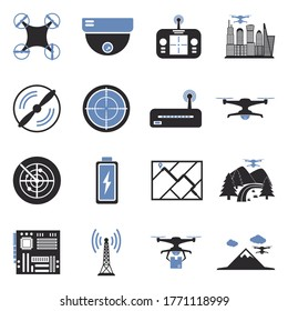 Drone Icons. Two Tone Flat Design. Vector Illustration.