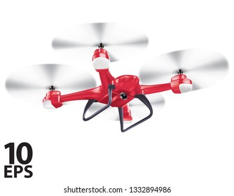 Drone isolated on white. realistic vector 3d illustration