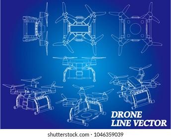 Drone isometrics. Vector line illustration.