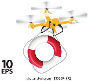 Drone lifebuoy delivery. Realistic creative vector 3d illustration