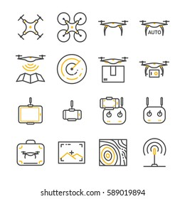 Drone line icon set. Included the icons as drone, remote, controller, radar, map, signal and more.