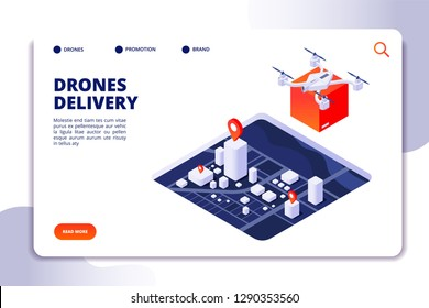 Drone logistics isometric concept. Future delivery technology, shipment with unmanned drones and quadcopter. Vector landing page