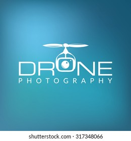 Drone logo concept on sky blue background