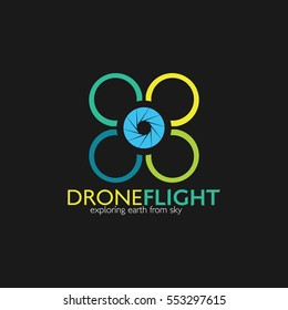 Drone logo Design template. Vector Illustration with Flat Style.