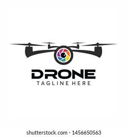 Drone Logo Design Vector Template, Colorful Lens Camera