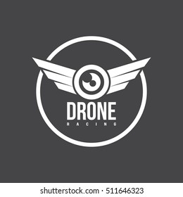 drone logo isolated on a dark background
