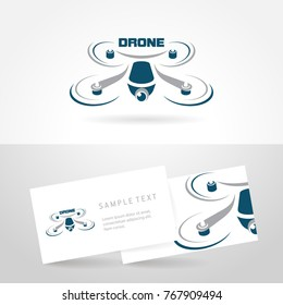 Drone logo template icon stylized vector symbol and business card