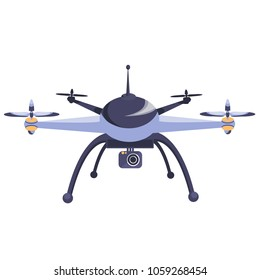 Drone. Modern technology. Copter with goods flying in the air. Quadcopter-courier, multicopter. Modern flat style vector illustration. Isolated on white background.