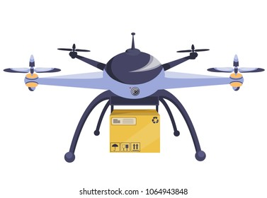 Drone. Modern technology. Copter with goods flying in the air. Parcel technique box  multicopter. New business technologyModern flat style vector illustration.Isolated on white back