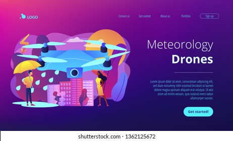 Drone over the city collecting meteorological data. Meteorology drones, meteorological data collection, accurate weather prediction concept. Website vibrant violet landing web page template.