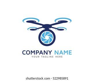 Drone Photo Logo Design Template
