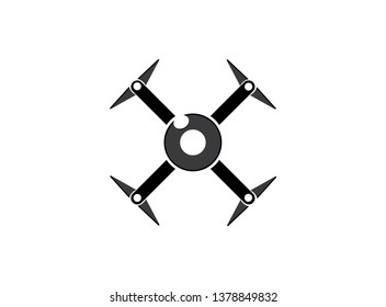 drone quad copter with digital camera at the sky fly for surveillance. close-up of Rotor drones. 4 blade propeller drone. silhouette drone Video Camera.