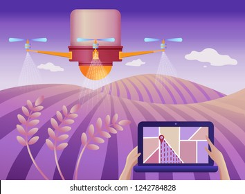 Drone or quadcopter for Agriculture. Vector illustration. Drone fly over the field and makes spraying or watering. Hands controlling the drone via laptop.