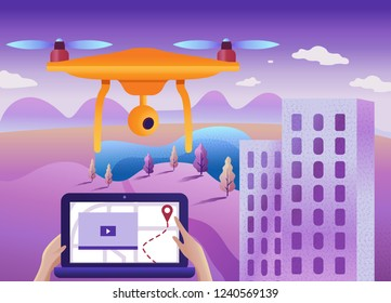 Drone or quadcopter with camera 3d scanning land. Drone fly over the landscape and make a geological mapping, video, and photos of the field.