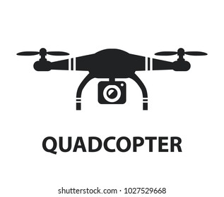 Drone quadcopter camera black icon isolated graphic design illustration