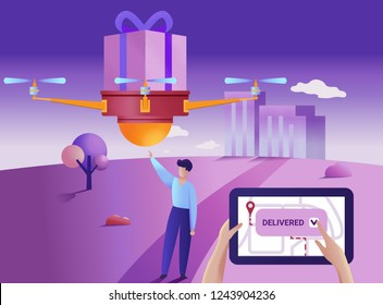 Drone or quadcopter delivery service concept. Vector illustration. Drone fly over the city and delivering a box. Hands controlling quadcopter via digital tablet.