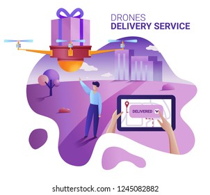 Drone or quadcopter delivery service concept. Vector illustration of landing page template. Drone fly over the city and delivering a box. Hands controlling quadcopter via digital tablet.