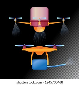 Drone or quadcopter flat icons. Unmanned aircraft of different purpose agricultural and fire drones . Vector illustration