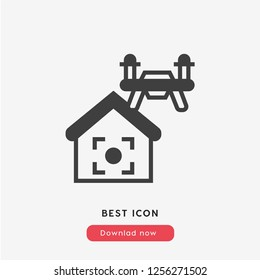Drone quadcopter  icon vector. Drone quadcopter icon. Drone flay symbol. Linear style sign for mobile concept and web design. Drone symbol logo illustration. vector graphics - Vector.