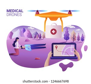 Drone or quadcopter medical service concept. Vector illustration of landing page template. Drone fly over the landscape and delivering ambulance equipment. Hands controlling via laptop