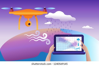 Drone or quadcopter for meteorological. Drone fly over the landscape and makes atmospheric measurements, video, and photos.