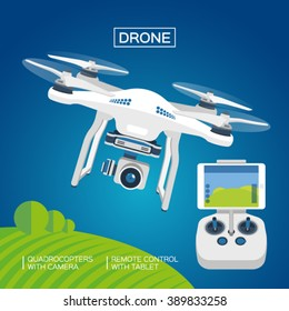 Drone or quadrocopter with camera and remote control  by tablet. White color, blue background. Illustration, vector EPS 10