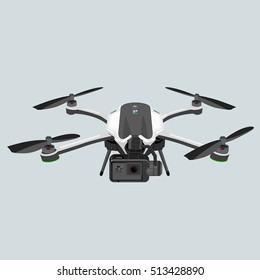 Drone quadrocopter carrying black action camera. Vector image isolated on white background