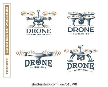 Drone quadrocopter logo design set, emblem EPS 10