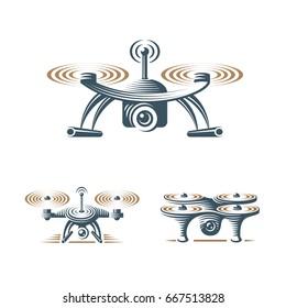 Drone quadrocopter logo design set, emblem on white background EPS 10