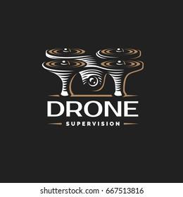 Drone quadrocopter logo design template, emblem on dark background EPS 10