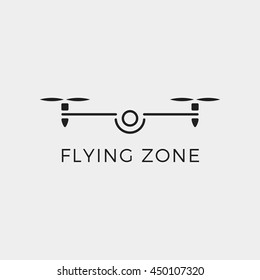 Drone quadrocopter logo. Flying zone simple vector illustration icon. Pictograph .