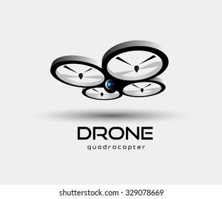 drone quadrocopter logo template