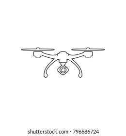 Drone Quadrocopter. Outline Icon. Vector Ilustration
