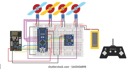 drone or quarcopter, arduino based drone consist NFR24l01  rc module with triple access accelerometer illustration