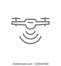 Drone with radio waves, wireless, radar detection system, delivery service line icon.