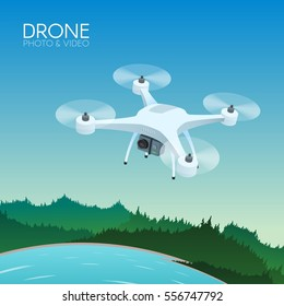 Drone with remote control flying over forest and lake. Aerial drone with camera taking photography and video concept vector illustration.