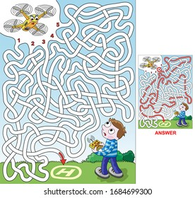 Drone. Select a correct path to land with drone on surface. Vector illustration of labyrinth, maze with entry and exit. Only one way is leading to the finish, other paths are dead ends. Maze for kids.