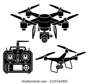 Drone silhouette icons set. Vector illustration.