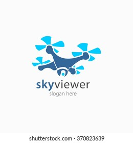 Drone Sky viewer icon, logo and template. Flat Style. Vector Illustration
